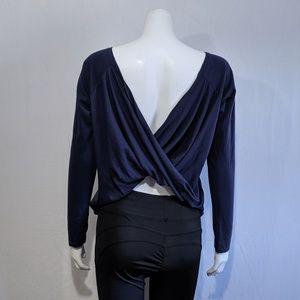 Fabletics navy blue twist back long sleeve top